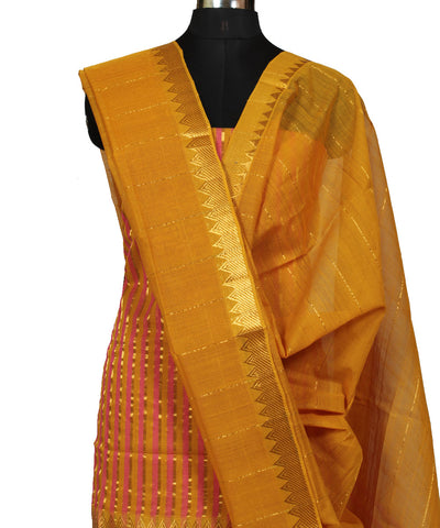Mangalgiri Handloom Mustard Dress Material