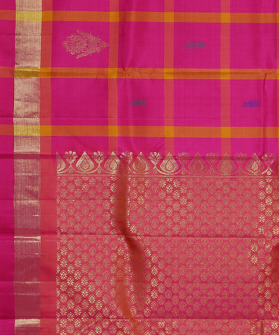 Handwoven Pink Checks Silk Saree
