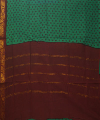 Sungudi Green and Maroon Cotton Madurai Saree