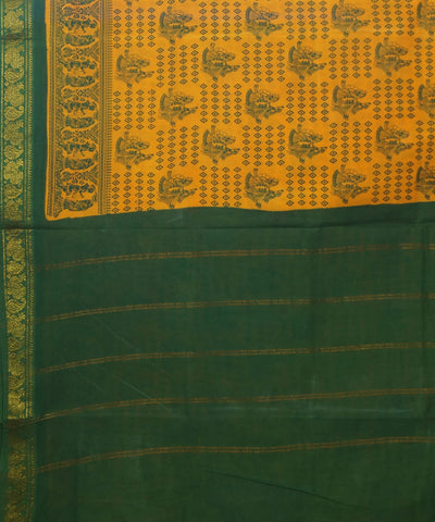 Sungudi Yellow and Green Cotton Madurai Saree