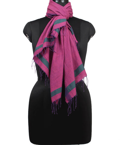 Handwoven French Wine Cotton Stole