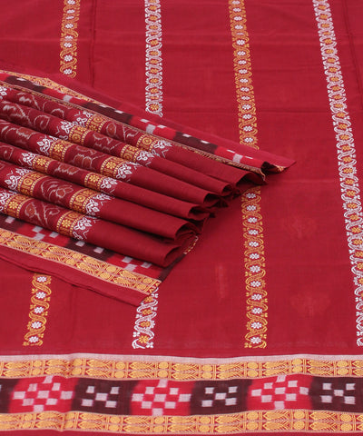Brown Maroon Bomkai Cotton Handloom Saree