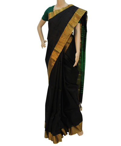 Khadi Nation Handwoven Raw Silk Saree in Black and Green