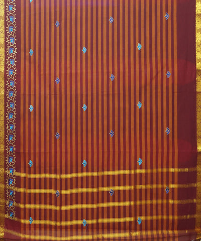 Orange Striped Handwoven Salem Cotton Saree