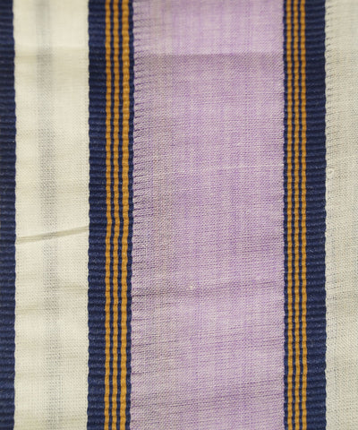 Handloom Off White Purple Double Cotton Dhoti