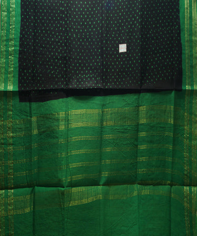 Sungudi Black and Green Cotton Madurai Saree
