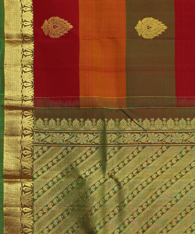 Handwoven Red, Orange and Green Silk Saree