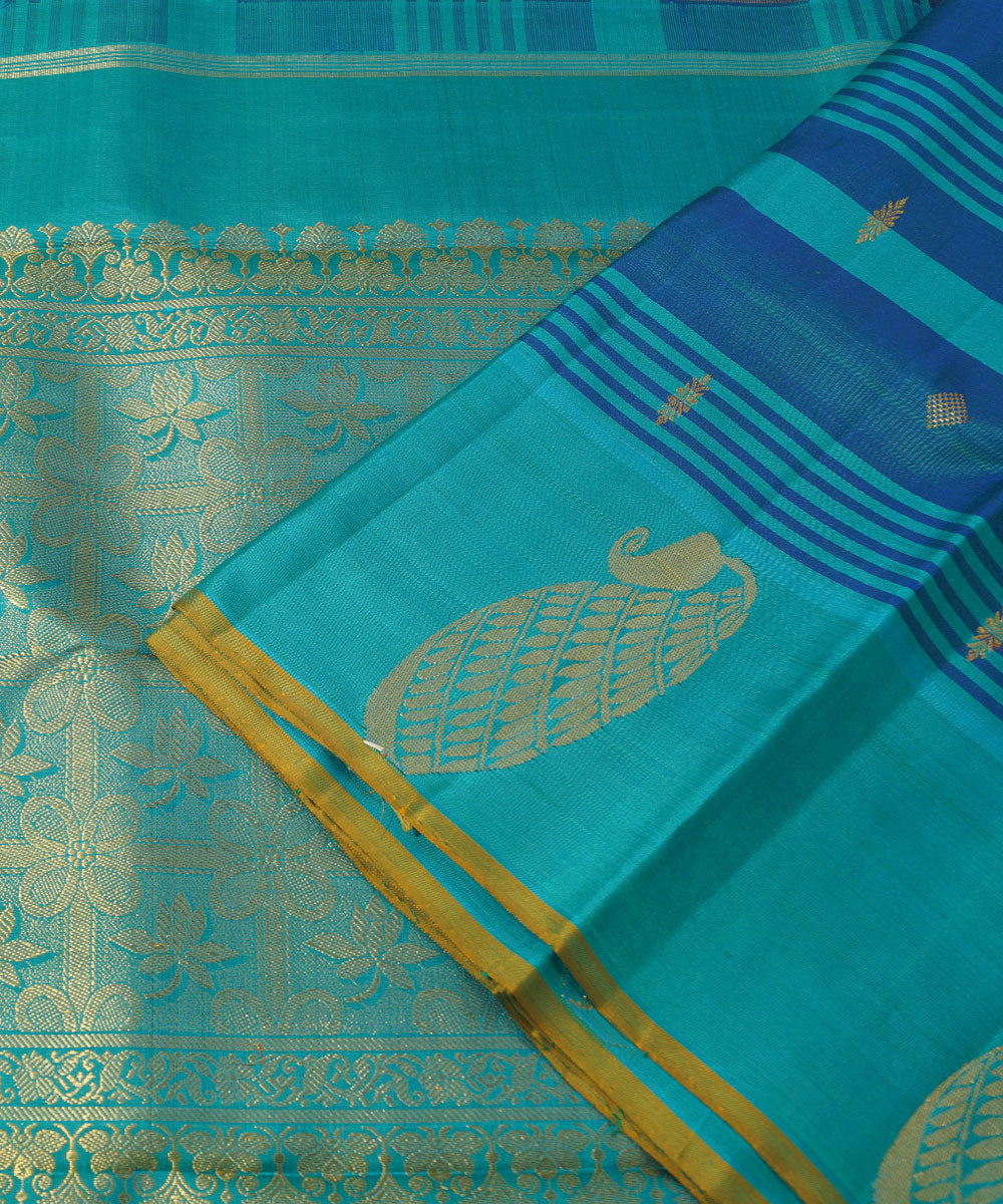 Kanchipuram Blue Handloom Silk Sarees