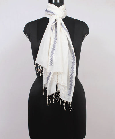 Handwoven White and Grey Jamdani Cotton Stole