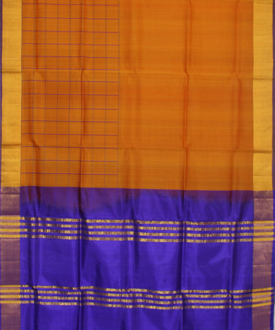 Handwoven Orange and Purple Silk Saree