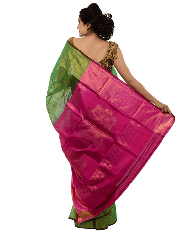 Khadi Nation Green Hanwoven Cotton Saree(KNSA16)