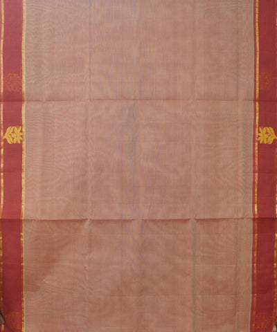 Peach Maroon Handwoven Rasipuram Cotton Saree