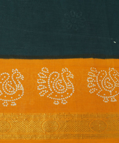 Sungudi Bottle Green Cotton Madurai Saree
