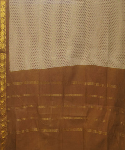 Sungudi Offwhite Brown Cotton Madurai Saree