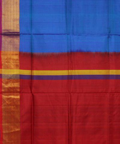 Handwoven Sky Blue Red Silk Saree