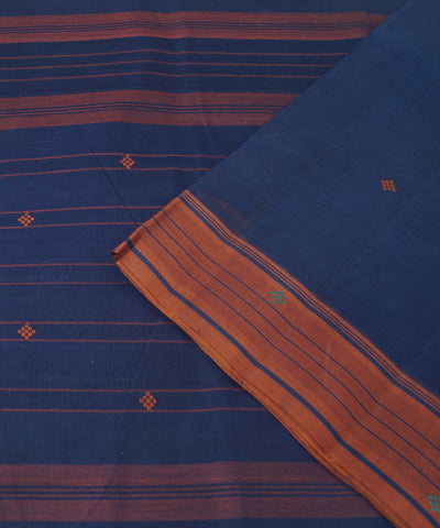Dark Blue Handwoven Rasipuram Cotton Saree