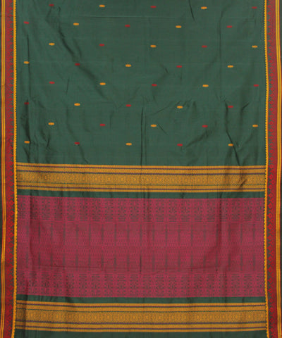 Khadi Nation Handwoven Green And Pink Butta Silk-Cotton Saree
