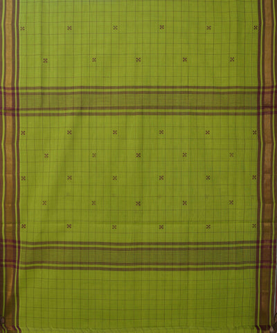 Parrot Green Handwoven Rasipuram Cotton Saree