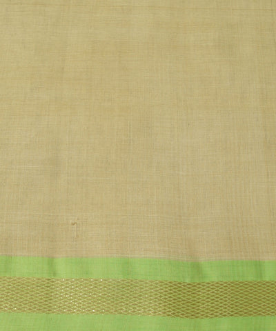 Beige Green Handwoven Rasipuram Cotton Saree