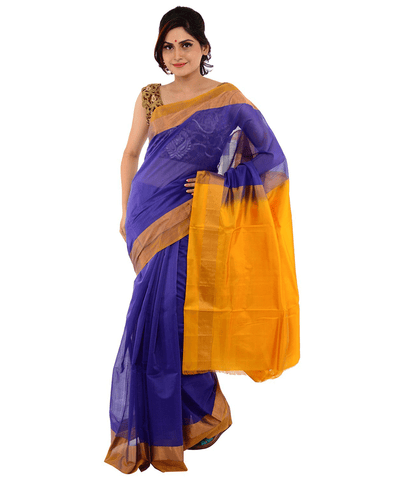 Khadi Nation Purple Handwoven Silk Saree(KNSA14)