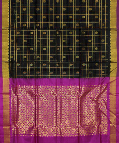Handwoven Black Checks and Pink Silk Saree
