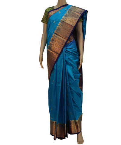 Khadi Nation Handwoven Peacock Blue Silk Saree