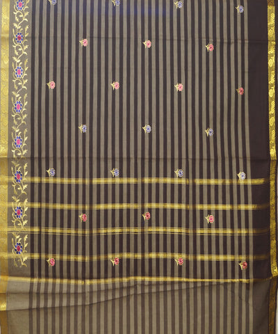 Brown Striped Handwoven Salem Cotton Saree