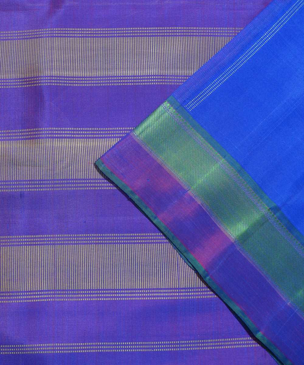 Navy Blue Purple Handloom Arni Silk Saree
