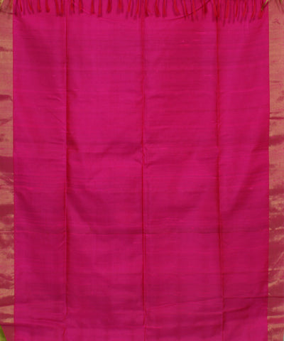Handwoven Parrot Green and Pink Silk Saree