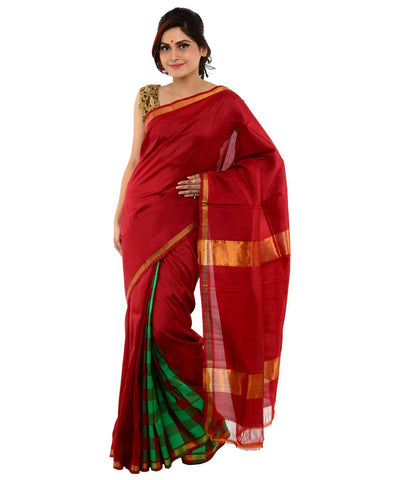 Khadi Nation Maroon Handwoven Silk Saree(KNSA20)