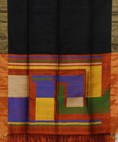 Handloom Black And Brown Silk Saree