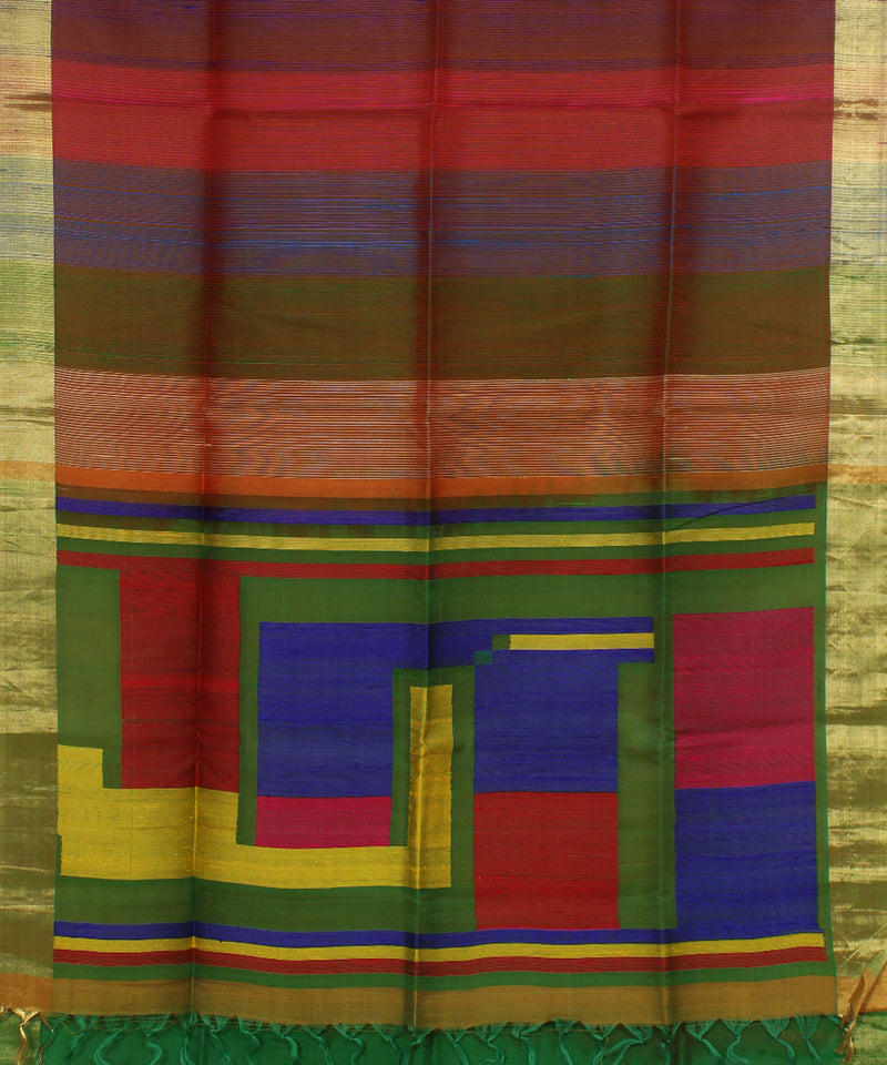 Handwoven Multicolor Stripes Silk Saree