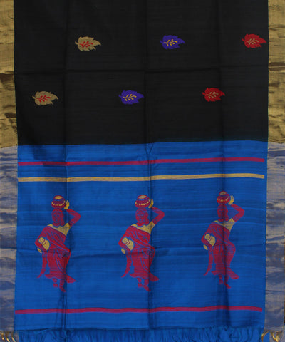 Handwoven Black and Blue Silk Saree