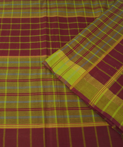 Maroon Checks Handloom Rasipuram Cotton Saree