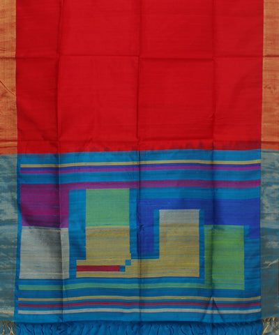 Handwoven Red and Blue Silk Saree