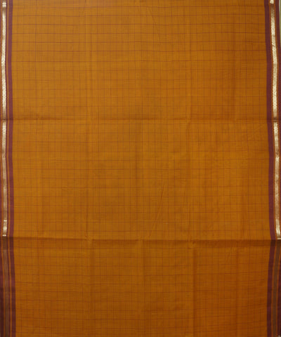 Orange Checks Handloom Rasipuram Cotton Saree