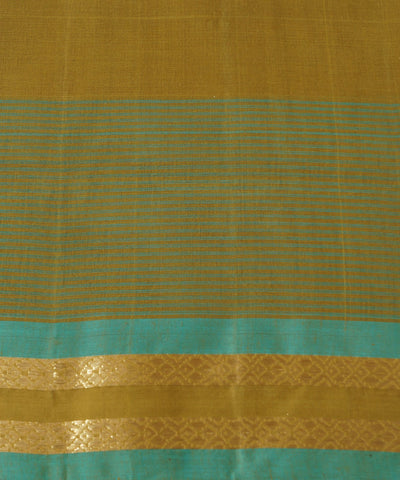 Brown Cyan Handwoven Rasipuram Cotton Saree