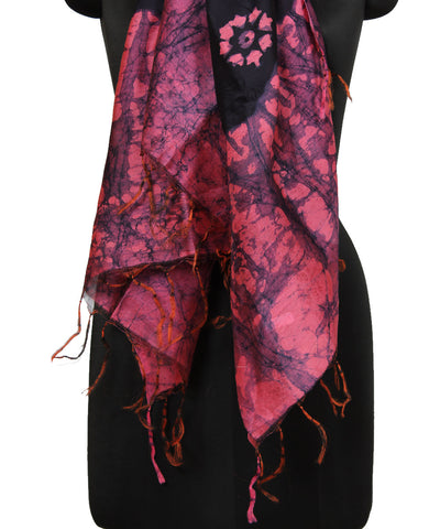 Batik Purple Pink Handprinted Cotton Dupatta
