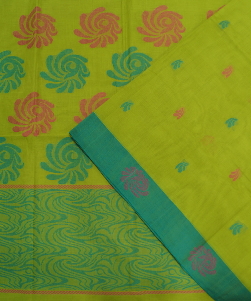 Loomworld Lemon Green Handwoven Kovai Organic Cotton Saree