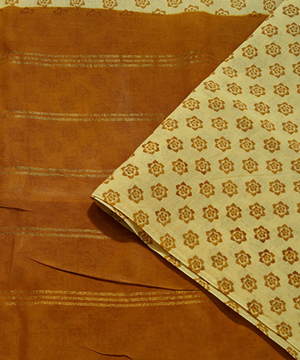 Sungudi Cream and Brown Cotton Madurai Saree