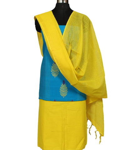 Blue and Yellow Handwoven Dress Material