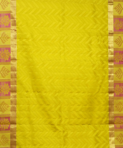 Lime Yellow Pink Handloom Arni Silk Saree