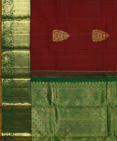 Handwoven Brown and Green Silk Saree