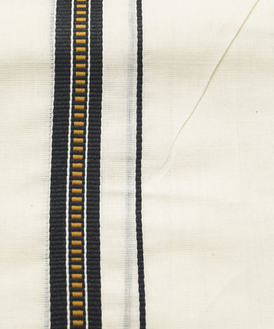 Handwoven Off White Black Double Cotton Dhoti