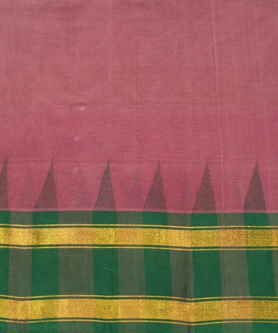 Pink Green Handwoven Rasipuram Cotton Saree