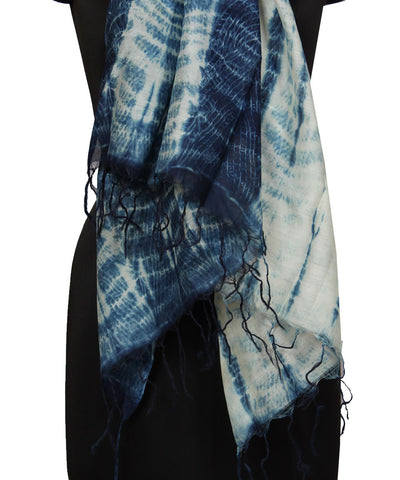 Blue White Handprinted Batik Cotton Dupatta