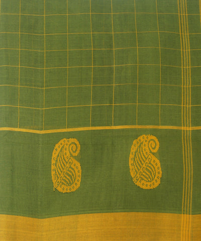 Green Checks Handwoven Salem Cotton Saree