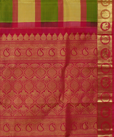 Handwoven Green Stripes with Pink Silk Saree