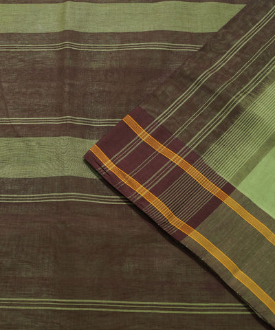 Green Brown Handwoven Rasipuram Cotton Saree
