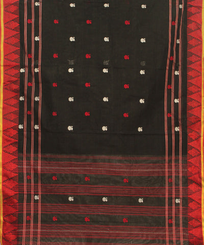 Khadi Nation Handwoven Black And Red Cotton Saree